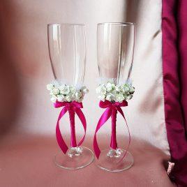 Свадебные бокалы Два букета малиновый №17
