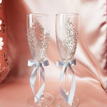 Свадебные бокалы красивая пара серебро с подписью  №21