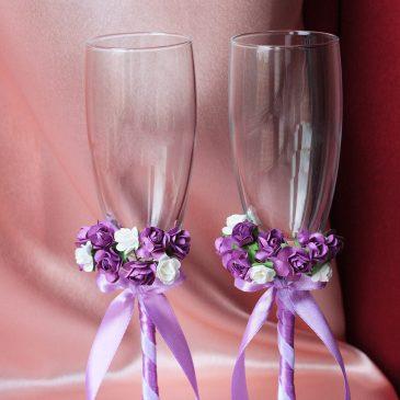 Свадебные бокалы бело-сиреневые
