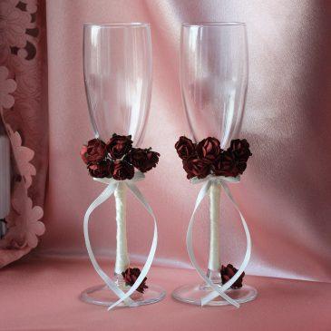 Свадебные бокалы бордо-айвори