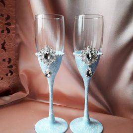 Свадебные бокалы Венера голубая №22