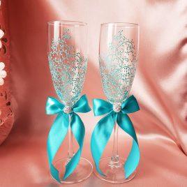 Свадебные бокалы красивая пара бирюза с подписью  №20