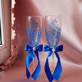 Свадебные бокалы красивая пара синяя с подписью №18