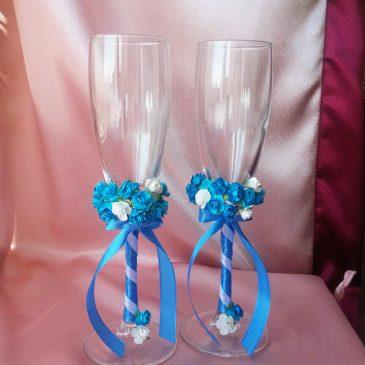 Свадебные бокалы Два букета, голубой №23