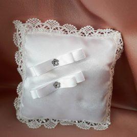 Свадебная подушка для колец белая №16