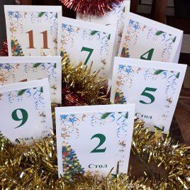 Номерки на столы новогодние