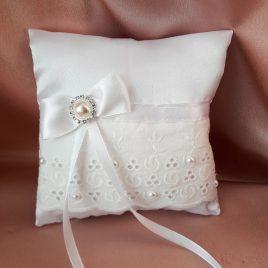 Свадебная подушка для колец белая №14