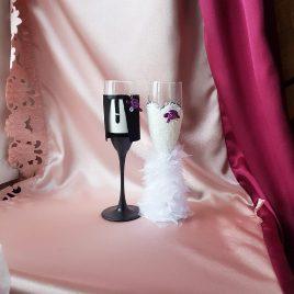 Свадебные бокалы жених и невеста с фиолетовым №31