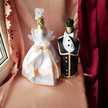 Одежда на бутылки персик на шампанское №27 ( съемная )