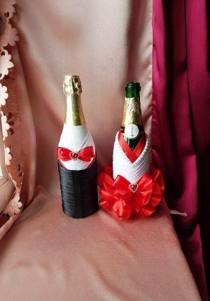 Одежда на бутылки красная на шампанское №14 ( съемная )