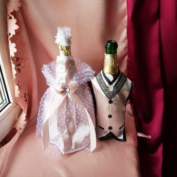 Одежда на бутылки припудренно-розовая на шампанское №28 ( съемная )