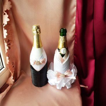Одежда на бутылки припудренный-розовый на шампанское №18 ( съемная )