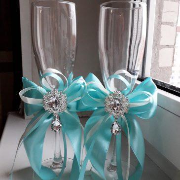 Свадебные бокалы Малый Эрмитаж бирюза №25
