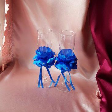 Свадебные бокалы Лепестки роз синие №30