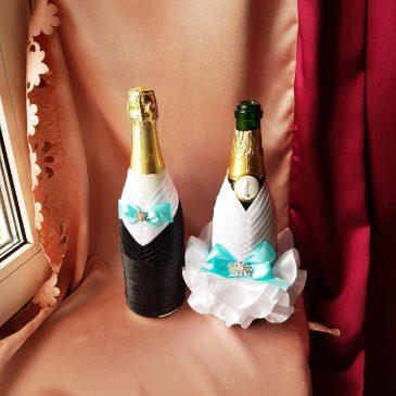 Одежда на бутылки бирюза на шампанское №20 ( съемная )