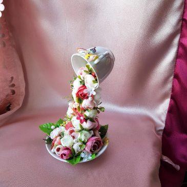 Топиарий Парящая кружка с цветами №20