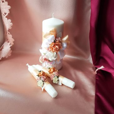 Свадебные свечи Семейный очаг Персик с цветами №14