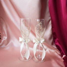 Свадебные бокалы красивая пара айвори с подписью №32