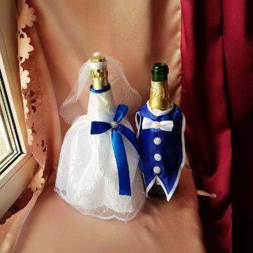 Одежда на бутылки синяя на шампанское №32 ( съемная )