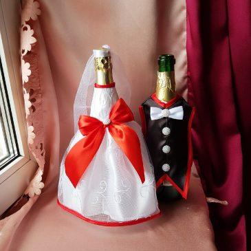 Одежда на бутылки красная на шампанское №31 ( съемная )