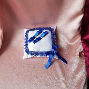 Свадебная подушка для колец синяя №20