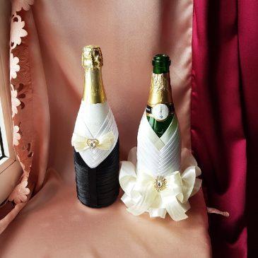 Одежда на бутылки айвори на шампанское №15 ( съемная )