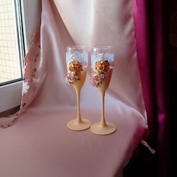 Свадебные бокалы Персик с цветами №29