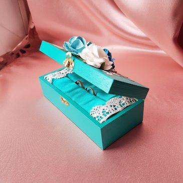 Шкатулка для свадебных колец бирюза №23