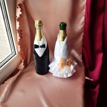 Одежда на бутылки персик на шампанское №17 ( съемная )