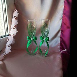 Свадебные бокалы красивая пара зеленая с подписью №38