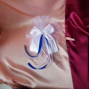 Бант на свадебную машину синий №12