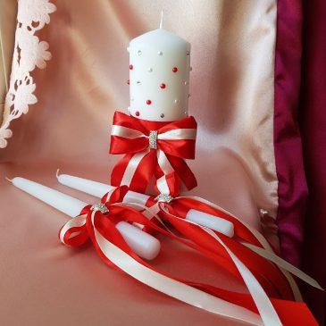Свадебные свечи Стразинки и бусинки красные с айвори №17
