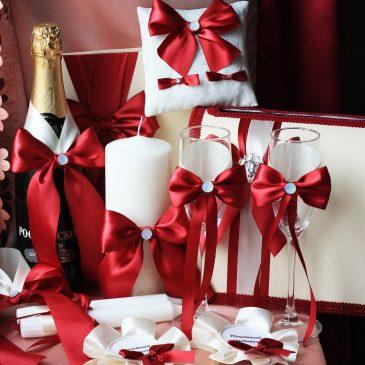 Свадебный набор Бордовый №14