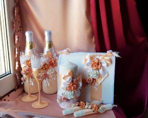 Свадебный набор Персик с цветами №1