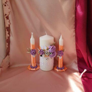 Свадебные свечи Ромео кораллово-сиреневые №16