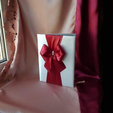 Папка для свидетельства о браке Бант бордо с брошкой №38
