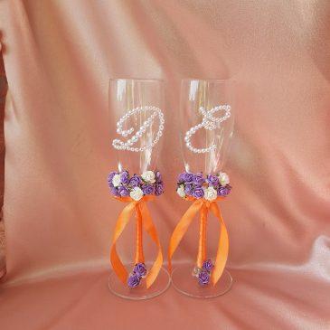 Свадебные бокалы Два букета с инициалами №35