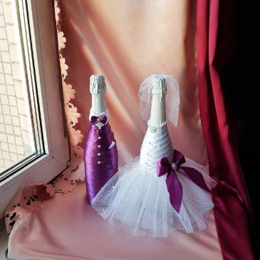 Одежда на бутылки не съемная фиолетовый с белым №37