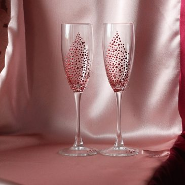 Свадебные бокалы полужемчуг бордовый №44
