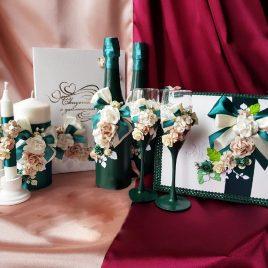 Свадебный набор Изумруд с цветами №23