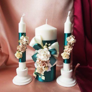 Свадебные свечи Семейный очаг Изумруд с цветами №28