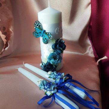 Свадебные свечи Бабочка синяя №25