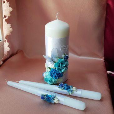 Свадебные свечи Бабочка бирюза №27