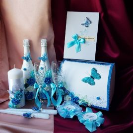 Свадебный набор Бабочка бирюза №22