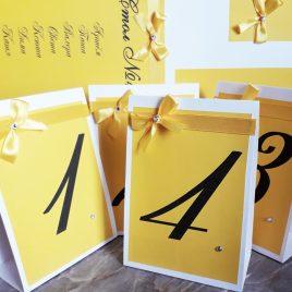 Номерки на столы желтые №2