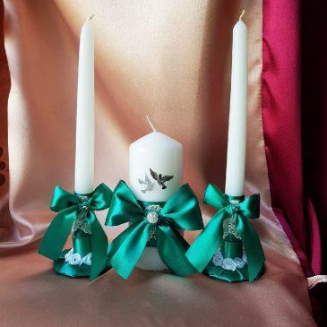 Свадебные свечи Изумруд с голубями малые №26