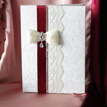 Папка для свидетельства о браке бордо лента №51